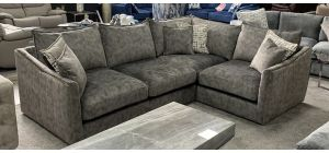 Blaise Fabric Corner Sofa RHF Grey Buffalo Suede With Gold Trim