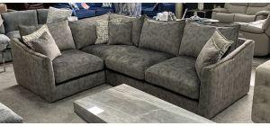 Blaise Fabric Corner Sofa LHF Grey Buffalo Suede With Gold Trim