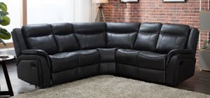 Hampton Recliner Leathaire Large Corner Sofa Black 2C2