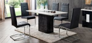 Jenson Marble 1.4m x  85cm Dining Table With 4 Grey Microfibre Chairs Showroom Model