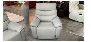 Kadiz Electric Recliner Leather Armchair 1 Seater Grey Power Headrests And Usb Charge Points