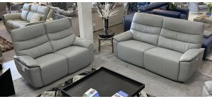 Kadiz Electric Recliner Leather Sofa Set 3 + 2 Seater Grey Power Headrests And Usb Charge Points