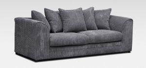 Dylan Fabric Sofa 3 Seater Grey Jumbo Cord