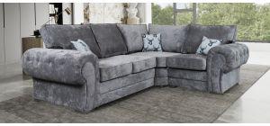 Verona Grey RHF Formal Back Fabric Corner Sofa With Chrome Legs