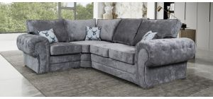 Verona Grey LHF Formal Back Fabric Corner Sofa With Chrome Legs