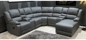 London Recliner Light Grey Bonded Leather Corner Sofa With Right Hand Chaise And Drinks Holders