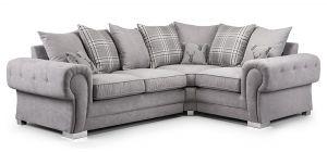 Verona Grey RHF Scatter Back Fabric Corner Sofa With Chrome Legs
