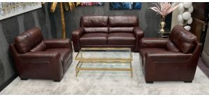 Lucca Semi Aniline Leather Sofa Set 3 + 1 + 1 Seater Burgundy Ex-Display Showroom Model 46601