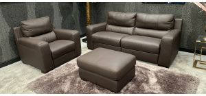 Lucca Electric Recliner Semi Aniline Leather Sofa Set 3 + 1 Seater + Footstool Mushroom Brown Ex-Display Showroom Model 46600