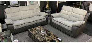 Melody Recliner Fabric Sofa Set 3 + 2 Seater Grey Two Tone