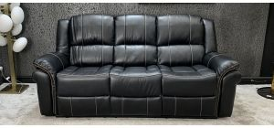 Michigan Recliner Leathaire Sofa 3 Seater Black With Contrast Stitching 46734