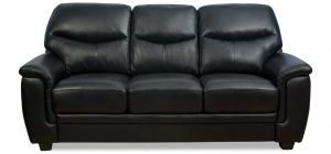 Monty Leather Sofa Set 3 + 1 + 1 Seater Black, Delivery In 12 Weeks