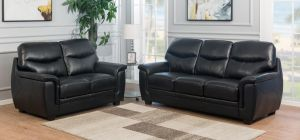 Monty Leather Sofa Set 3 + 2 Seater Black, Delivery In 12 Weeks