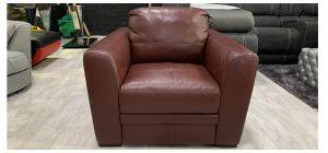 Monza Semi Aniline Leather Armchair 1 Seater Burgundy Sisi Italia Ex-Display Showroom Model 80119