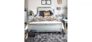 Grey Stamford Mirror King Size Bed Frame