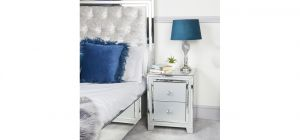 Grey Stamford Mirror 2 Drawer Bedside Cabinet