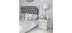 Silver Vesper Mirror Bedside Cabinet