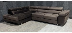Nevada Brown LHF Velour Fabric Corner Sofabed With Ottoman Storage And Adjustable Headrests And Chrome Legs