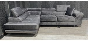 Nevada Grey LHF Velour Fabric Corner Sofabed With Ottoman Storage And Adjustable Headrests And Chrome Legs