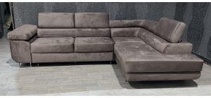 Nevada Mink RHF Velour Fabric Corner Sofabed With Ottoman Storage And Adjustable Headrests And Chrome Legs