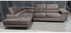 Nevada Mink LHF Velour Fabric Corner Sofabed With Ottoman Storage And Adjustable Headrests And Chrome Legs
