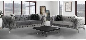 New Sandringham 3+2 Chesterfield Silver Soft Velvet Sofa Set With Chrome Legs