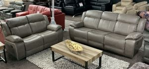 Deuce Recliner Leathaire Sofa Set 3 + 2 Seater Elephant Grey With Contrast Stitching, Delivery In 10 Weeks