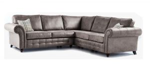 Oakland Grey Large 2C2 Fabric Corner Sofa With Studded Round Arms And Wooden Legs