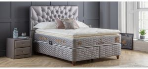 Ocaliptus Bed Set King 4FT6 Satin-Look Knitted Fabric Feather Foam Full Orthopaedic With Ottoman Storage