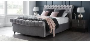 Paris Bed Frame Double 4FT6 Grey With Side Ottoman Storage