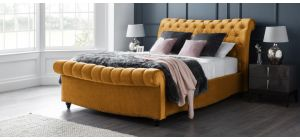 Paris Bed Frame Double 4FT6 Gold With Side Ottoman Storage