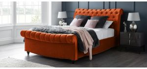 Paris Bed Frame Double 4FT6 Apricot With Side Ottoman Storage