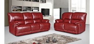 Pippa Leathaire 3 + 2 Seater Red Manual Recliner Sofa Set