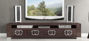 Prestige Warm Umber Birch Four Door TV Unit With Metal Logo Handles
