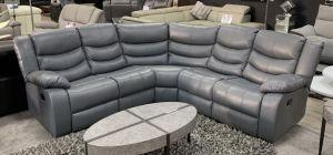 Ravelli Grey Recliner Leather Corner Sofa 2C2 With Drinks Holder