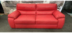Sis Italia Semi Aniline Leather Sofa 3 Seater Red 46500