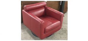 Red Square Arm Natuzzi Swivel Armchair Hand Crafted in Italian top grain leather (cat 15 corrected grain) Ex-Display Showroom Model