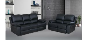 Rockford Black Reclining 3 + 2 Seater Leather Sofa Set Delivery in 5 weeks