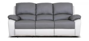 Rockford Recliner Leather Sofa 3 Seater Two Tone Grey