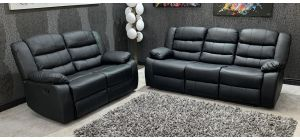 Roma 3 + 2 Black Bonded Leather Manual Recliners With Drop Down Drinks Holder