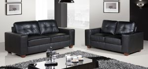Roman Leather Sofa Set 3 + 2 Seater Static Black 21 Working Days Delivery