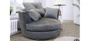 Royale Fabric Armchair 1 Seater Grey Velvet