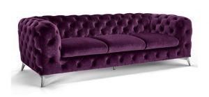 Sandringham Fabric Sofa 3 Seater Purple