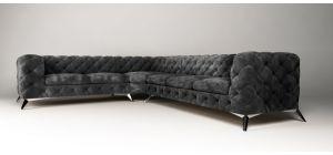 Sandringham Fabric Corner Sofa LHF Black 2C3
