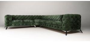 Sandringham Fabric Corner Sofa LHF Green 2C3