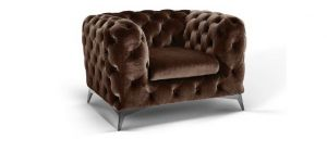 Sandringham Fabric Armchair 1 Seater Brown