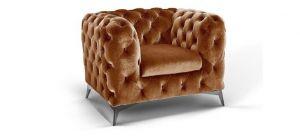 Sandringham Fabric Armchair 1 Seater Gold