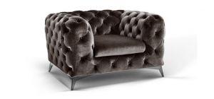 Sandringham Fabric Armchair 1 Seater Grey