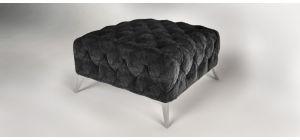 Sandringham Fabric Footstool Black