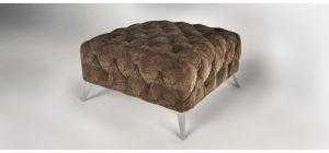 Sandringham Fabric Footstool Brown